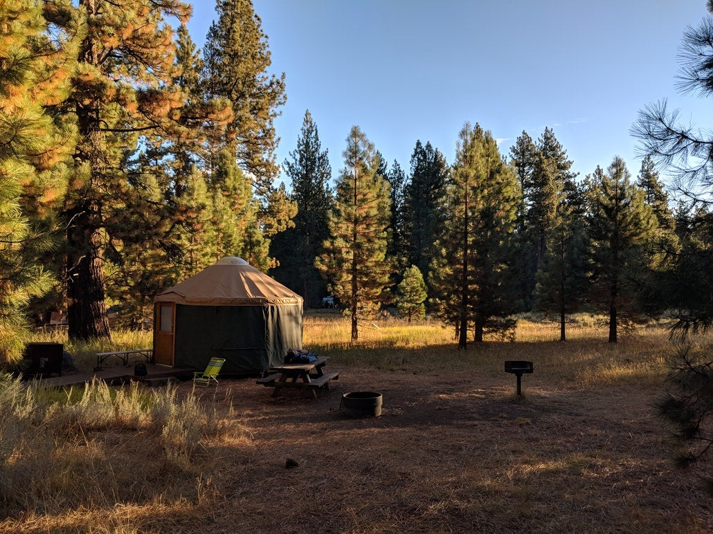 a yurt campground in the early morning