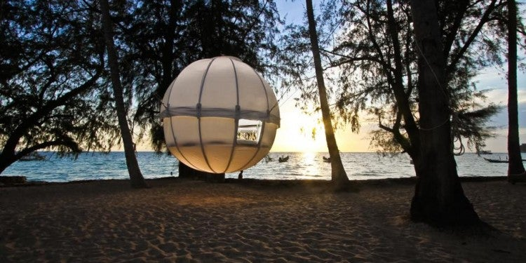 cocoon tree glamping tent hovering in the trees above a beach
