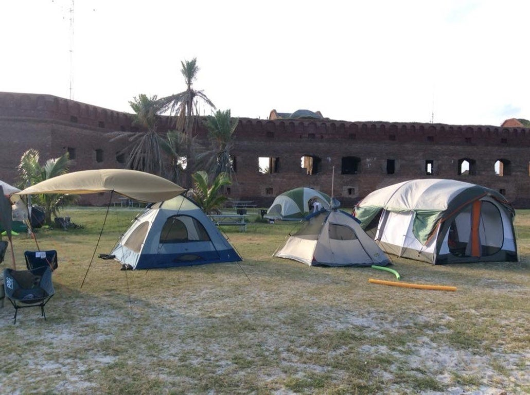 a group camping site within an old fort in the florida keys
