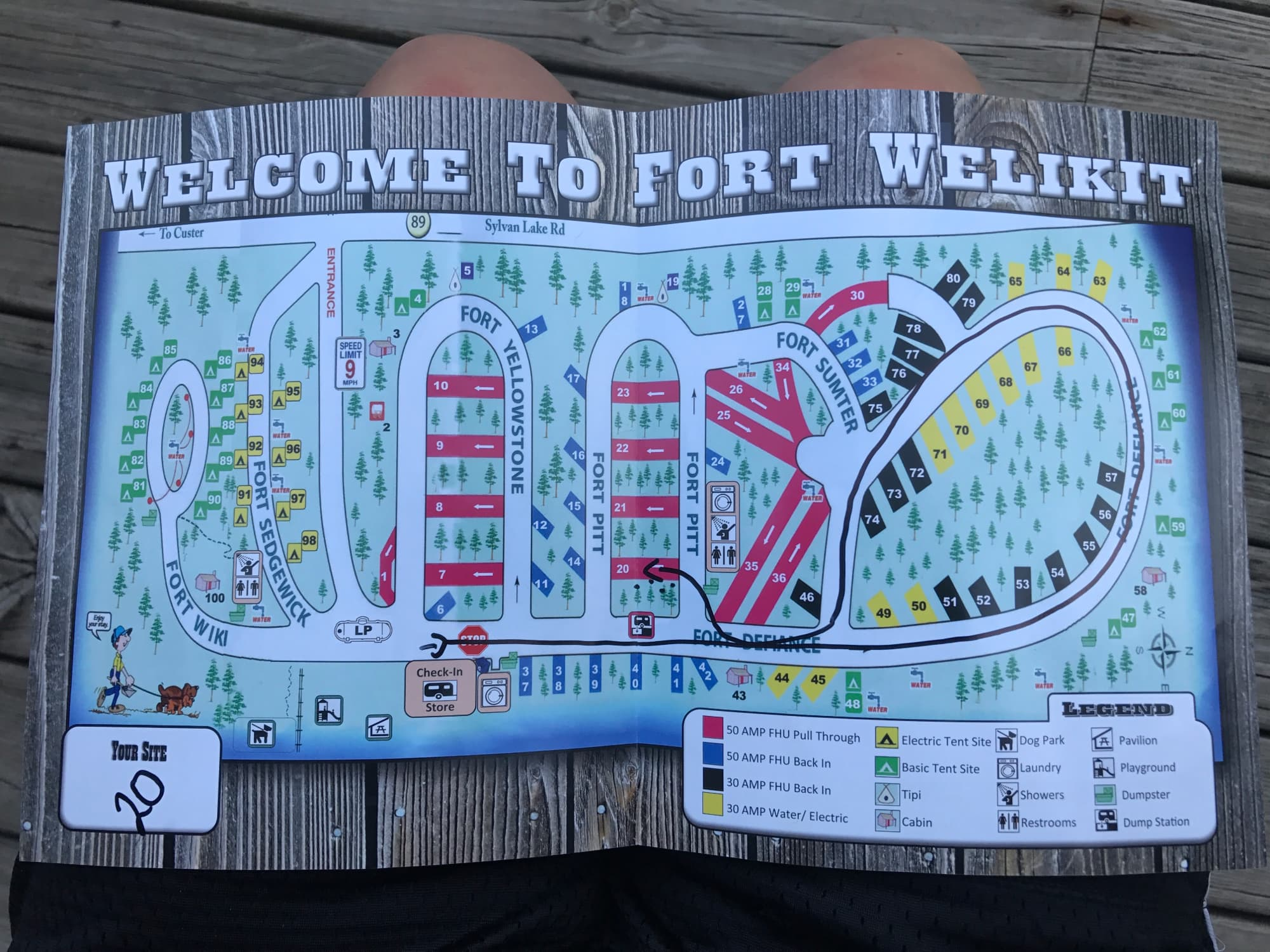 Campsite map for Fort Welikit Family Campground and RV Park