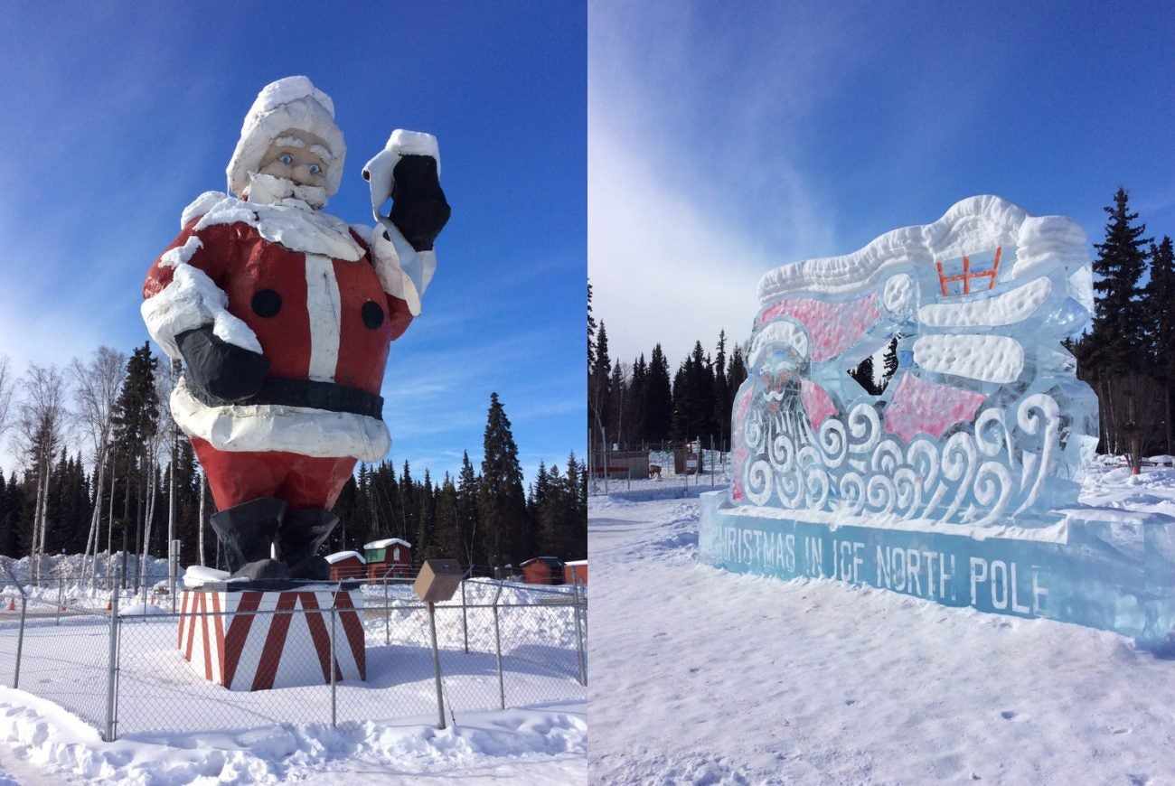 santa clause statue and ice carving in north pole, alaska