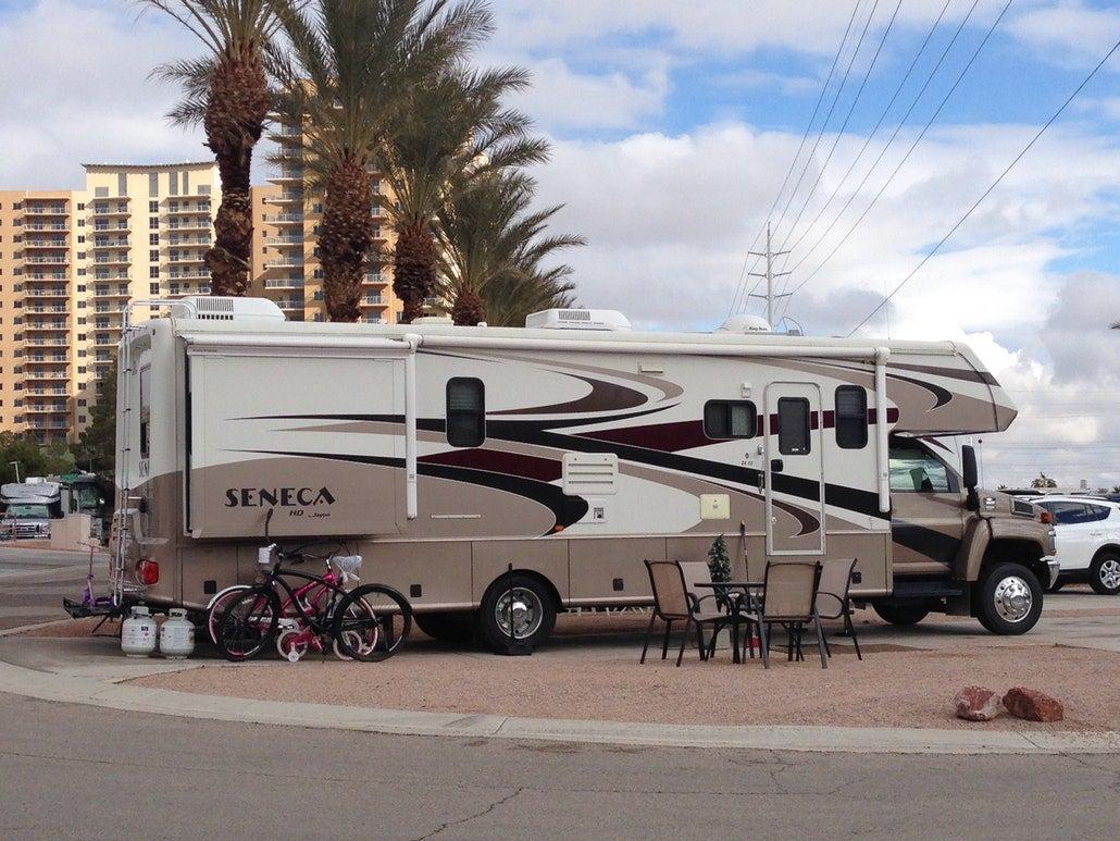 an rv parked in urban campground near las vegas