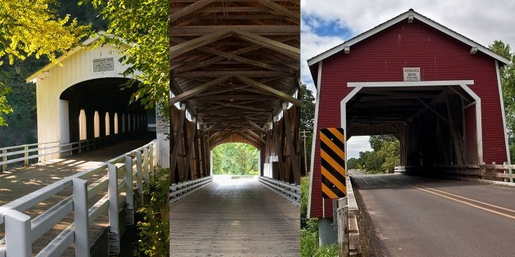 a split image of three different covered bridges in Oregon