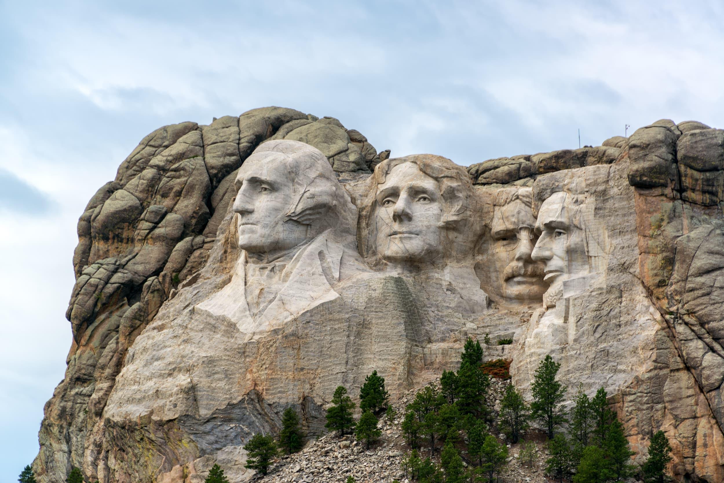 View of Mount Rushmore National Monument near Keystone, South Dakota