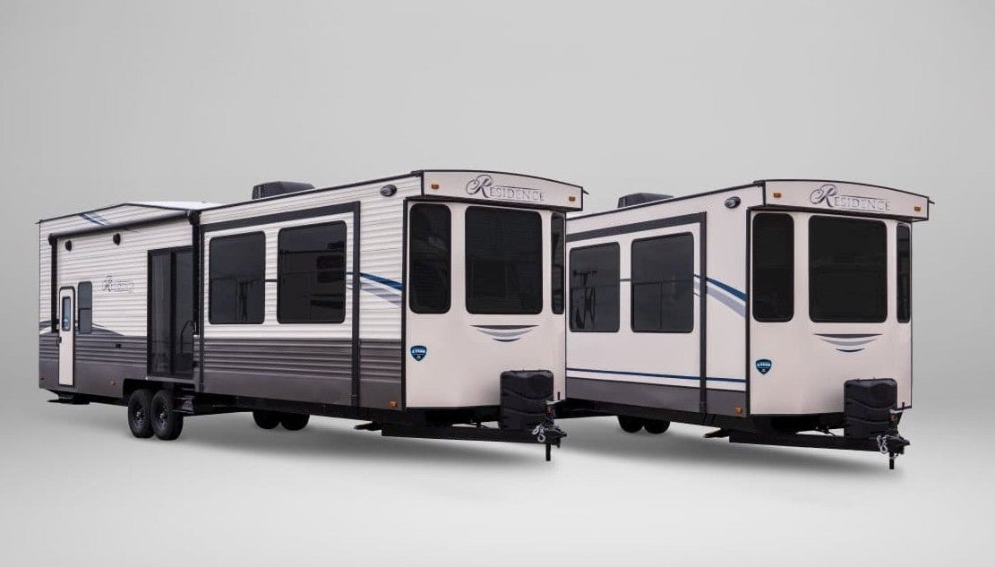 keystone rv destination trailer render against a white background