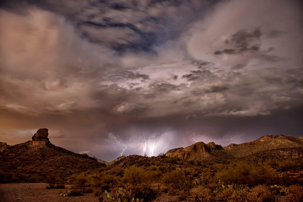 Desert storm with lightening