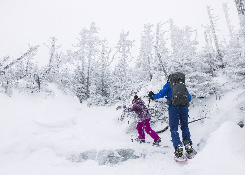 A man and a young girl snowshoeing up a snowy mountain