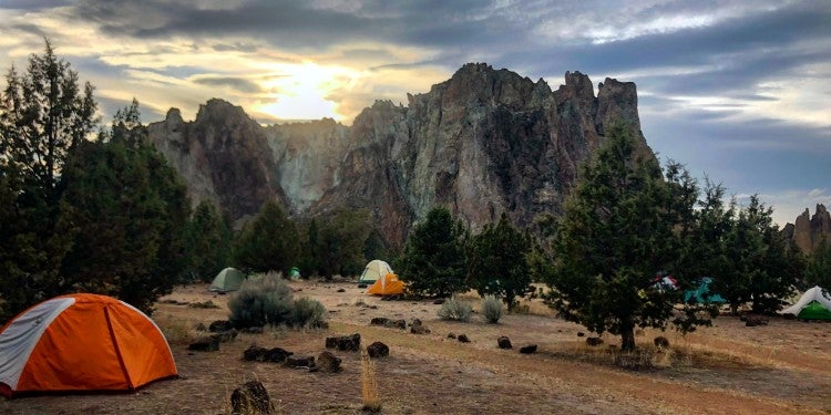 sunset over a campsite at smith rock state park