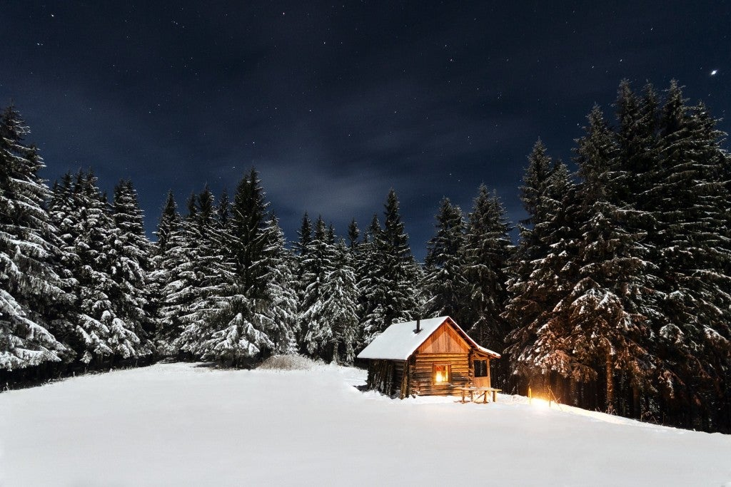 winter camping in cabin