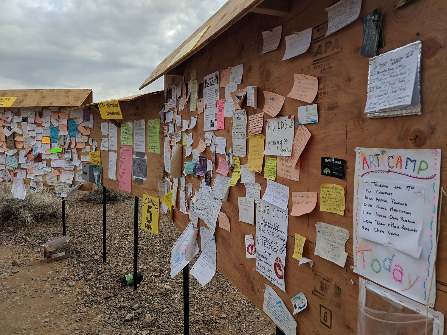 Community board with fliers in Quartzsite, AZ