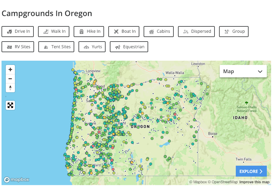 all campgrounds in oregon, mapped