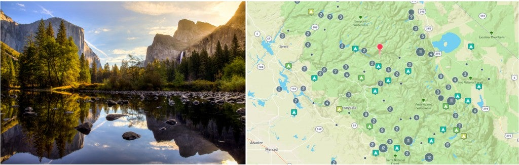 split image of yosemite national park and national park campgrounds mapped on the dyrt