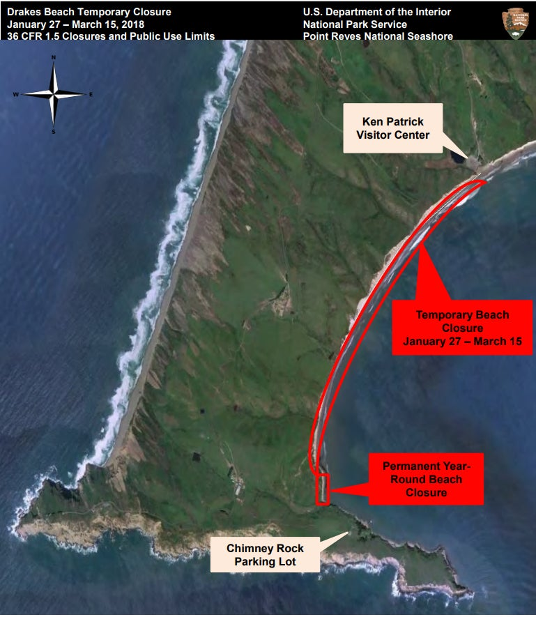 a map of Point Reyes National Seashore highlighting the portion of beach closed for the california elephant seal migration.