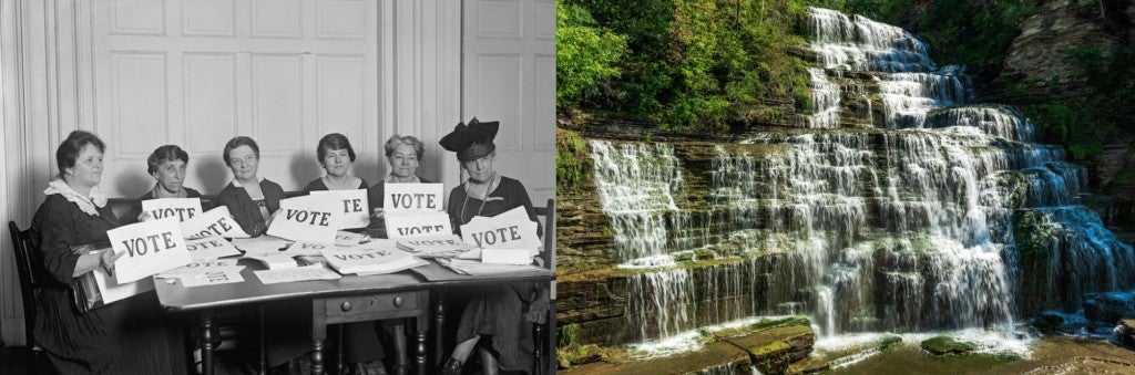 (left) historical image of suffragettes holding signs displaying the word vote (right) water cascades down green mossy rocks