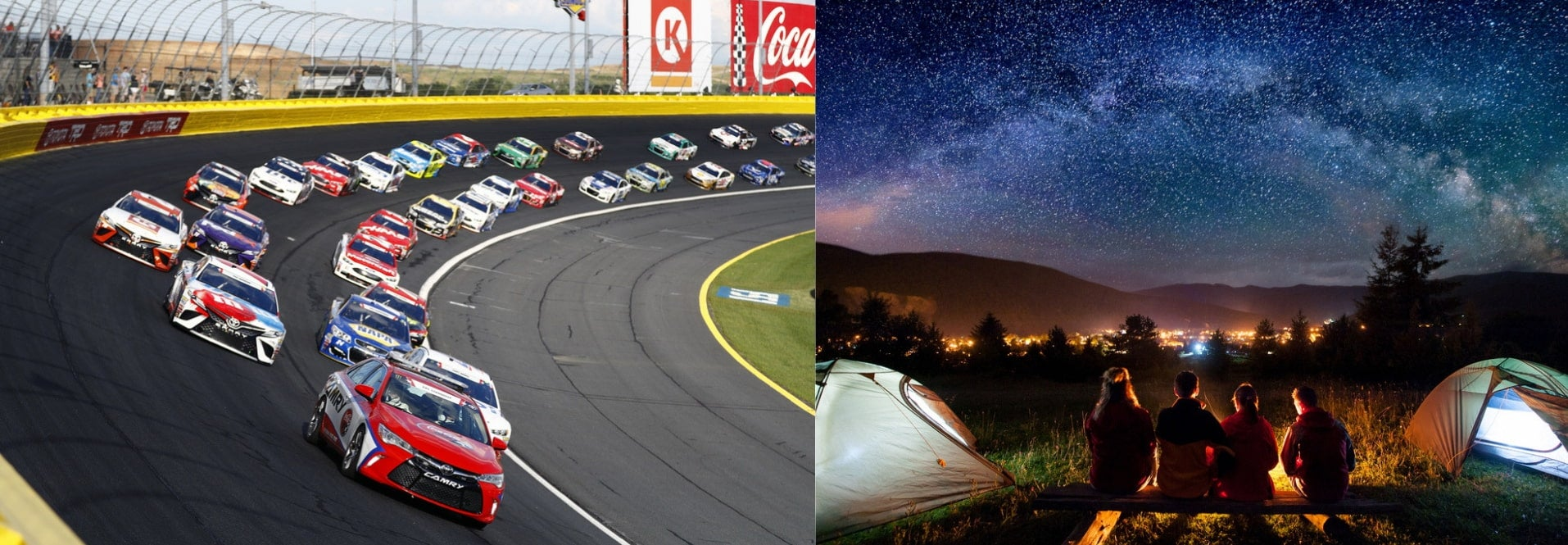(left) dozens of vehicles approaching on an angled nascar track (right) long exposure of starry night sky over group campsite