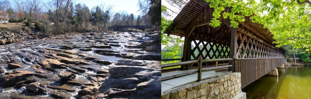 (left) riverbed with large smooth rocks (right) covered bridge in indian springs state park