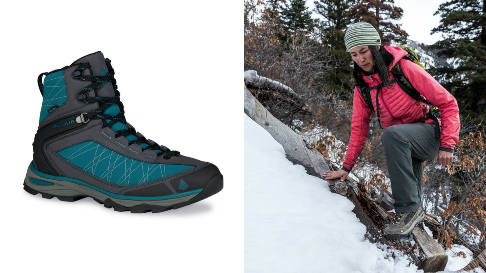 (left) gray black and teal winter hiking boot (right) woman in pink coat stepping over log on snow covered hiking trail