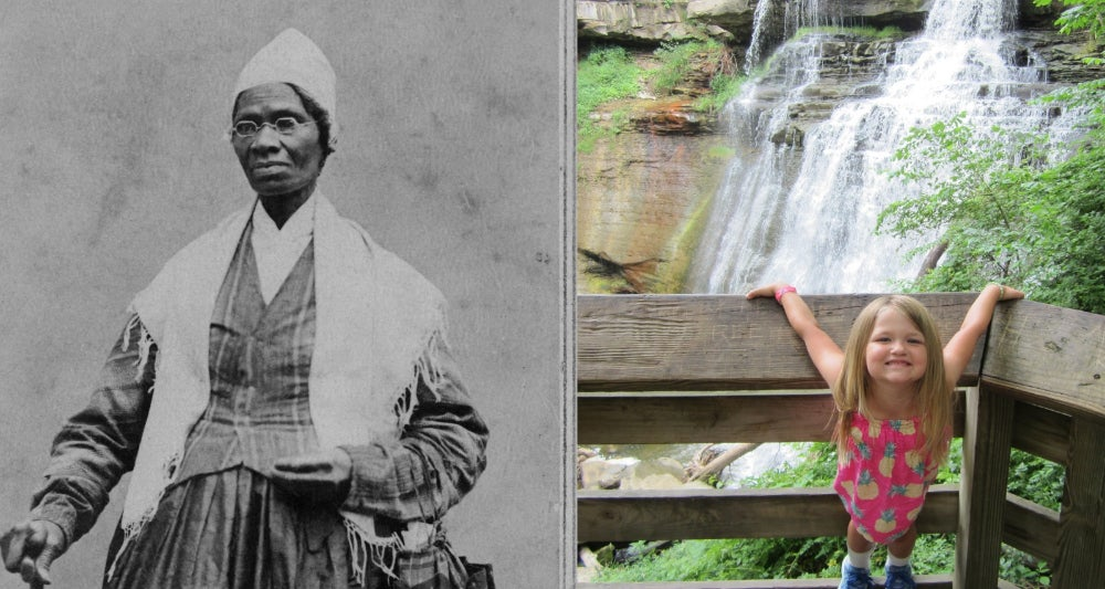Left: Portrait photo of Sojourner Truth. Right: Little girl standing in front of rushing waterfall at Cuyahoga Valley National Park in Ohio