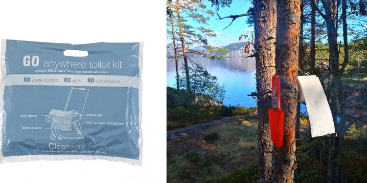 Left photo displays a Wag Bag and right photo displays a wide angle shot of the woods with toilet paper on a branch and a lake in the background
