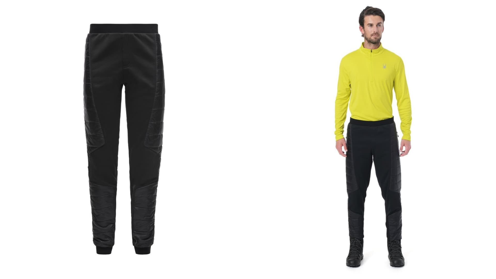 (left) black glissade pants (right) man in black glissade pants wearing bright yellow performance shirt