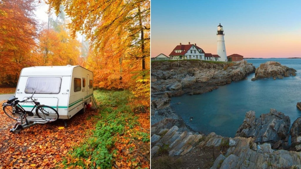 (left) camper with bike on bike rack parked on the edge of the road surrounded by fall foliage (right) rocky shore and portland head light house at sunset
