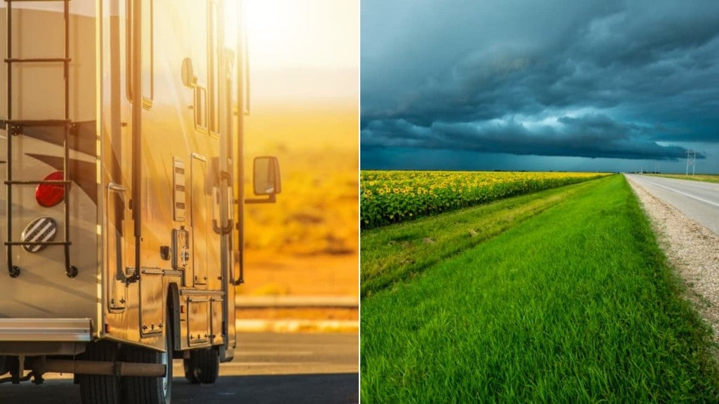 (left) large rv closeup driving off into sunset (right) Stormy skies over an open road next to a sunflower farm in the American Midwest
