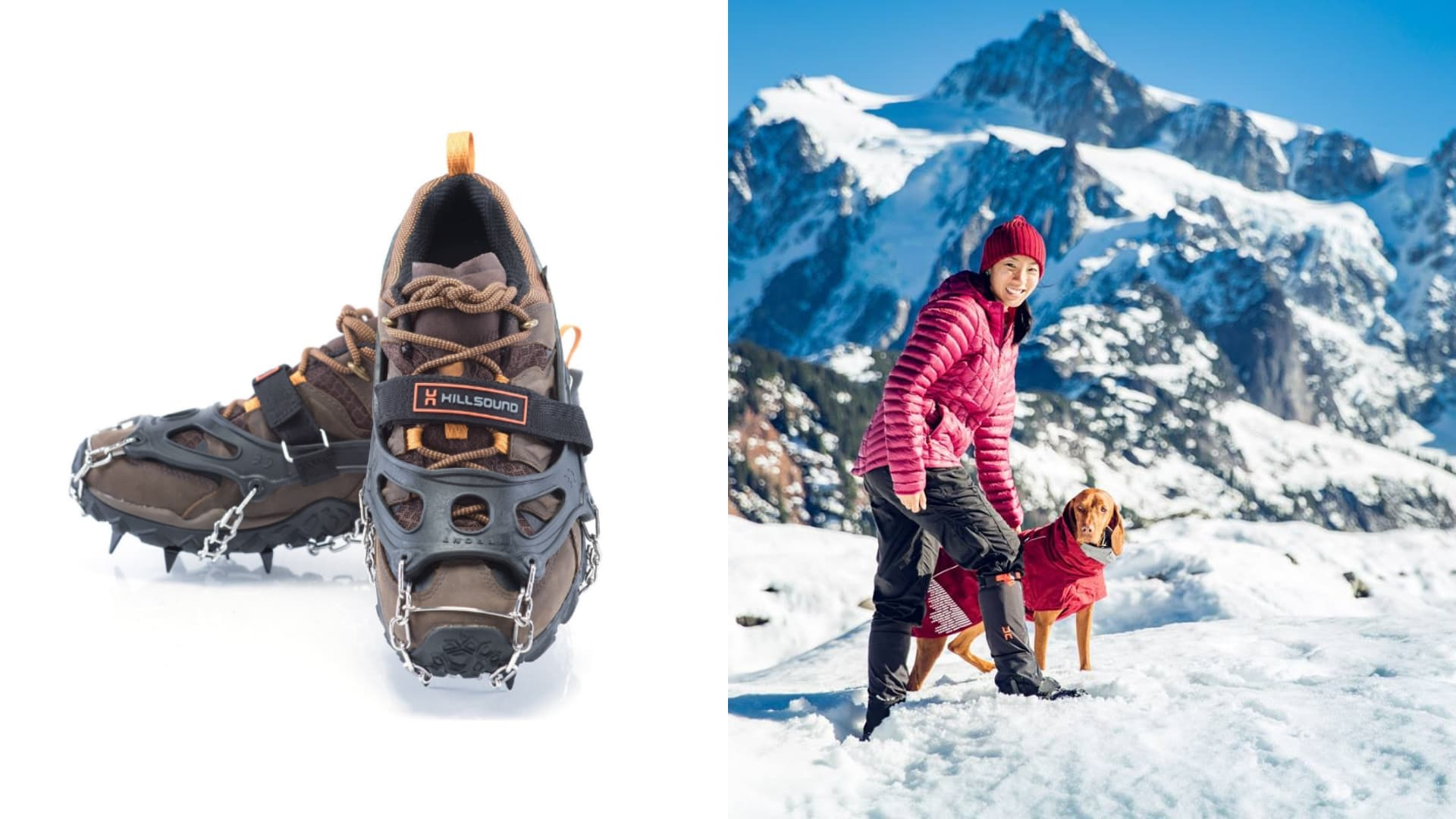 (left) pair of hiking boots with crampons (right) woman in red jacket and dog wearing red coat standing in snow with jagged peaks in the background