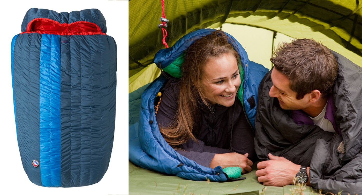 (left) red and blue two-person sleeping bag (right) couple lying in their sleeping bags looking at each other in a green tent.