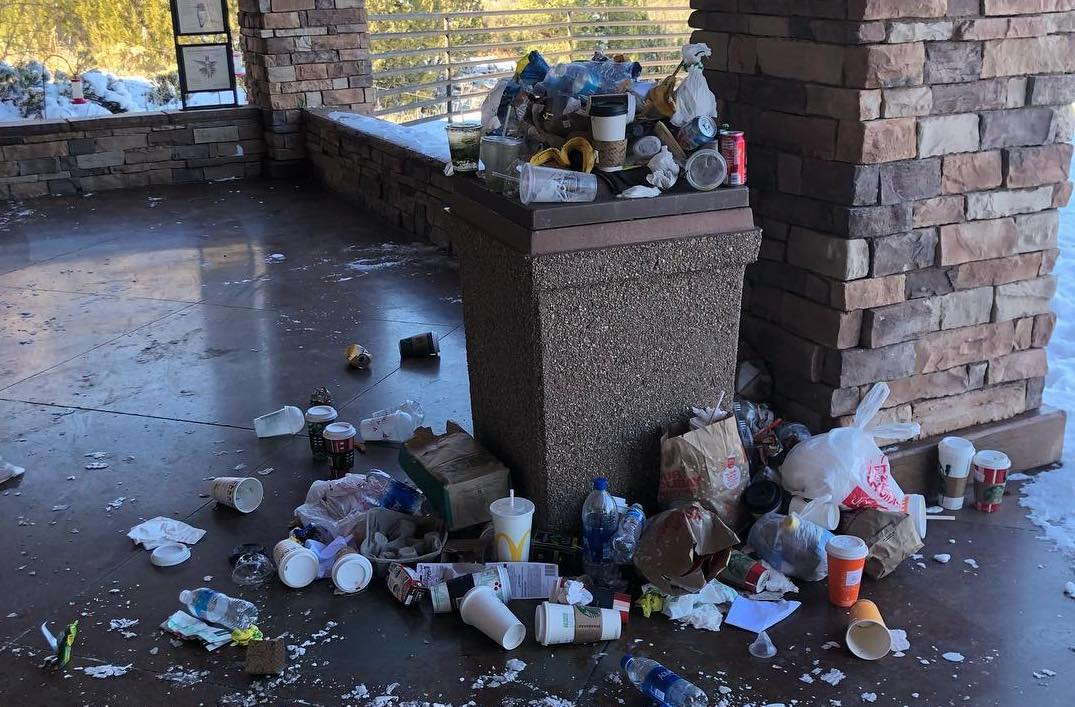 trash overflows at national park facility during the government shutdown