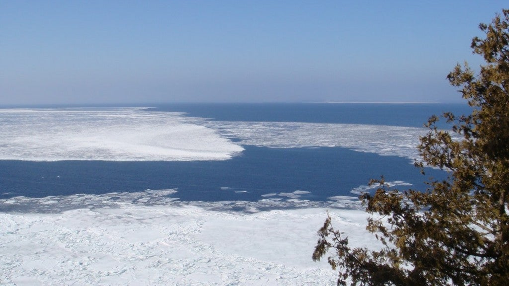 an icy shoreline as seen from an observation tower in northern wisconsin