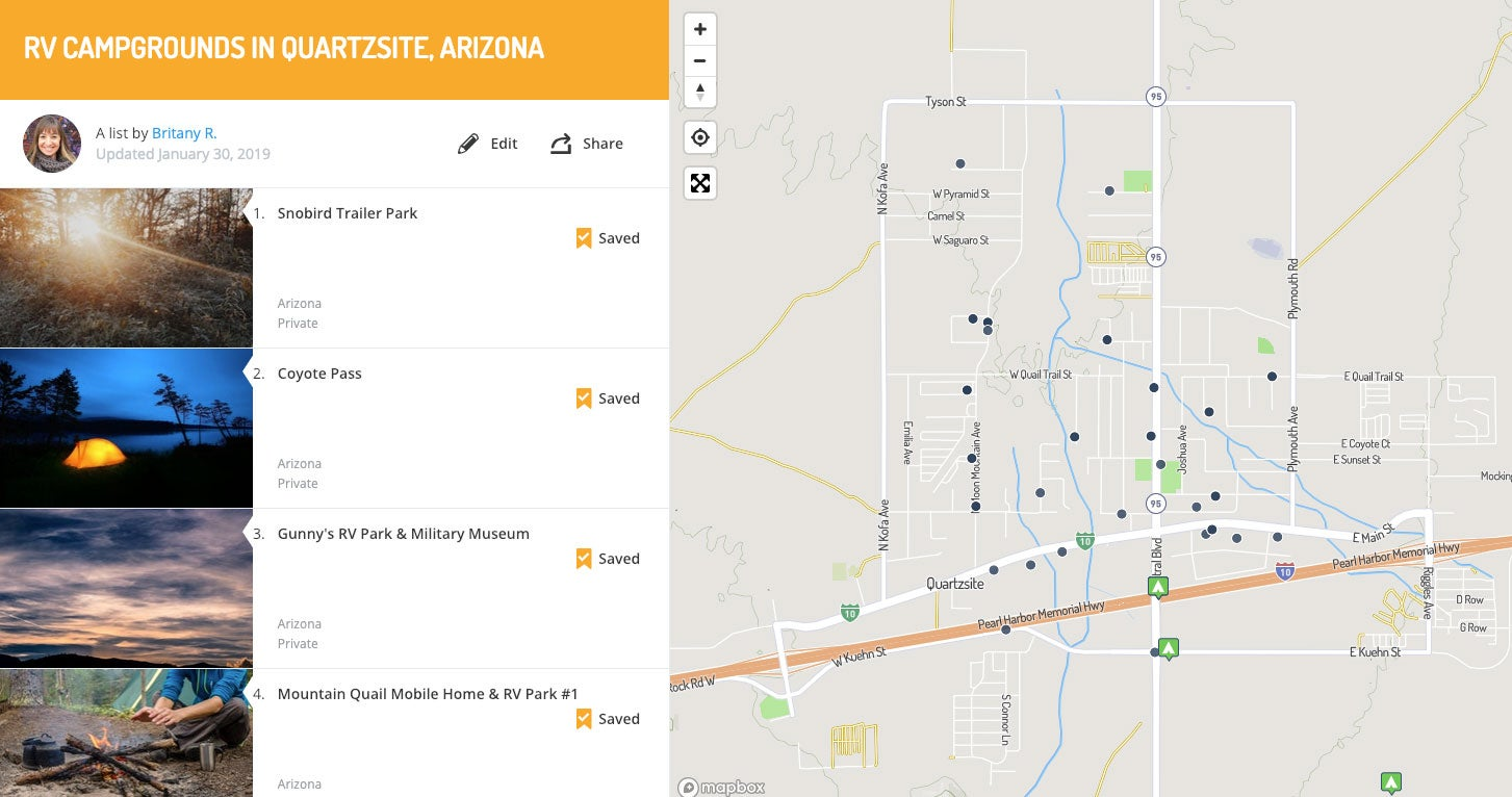 RV campgrounds in Quartzsite, mapped on The Dyrt