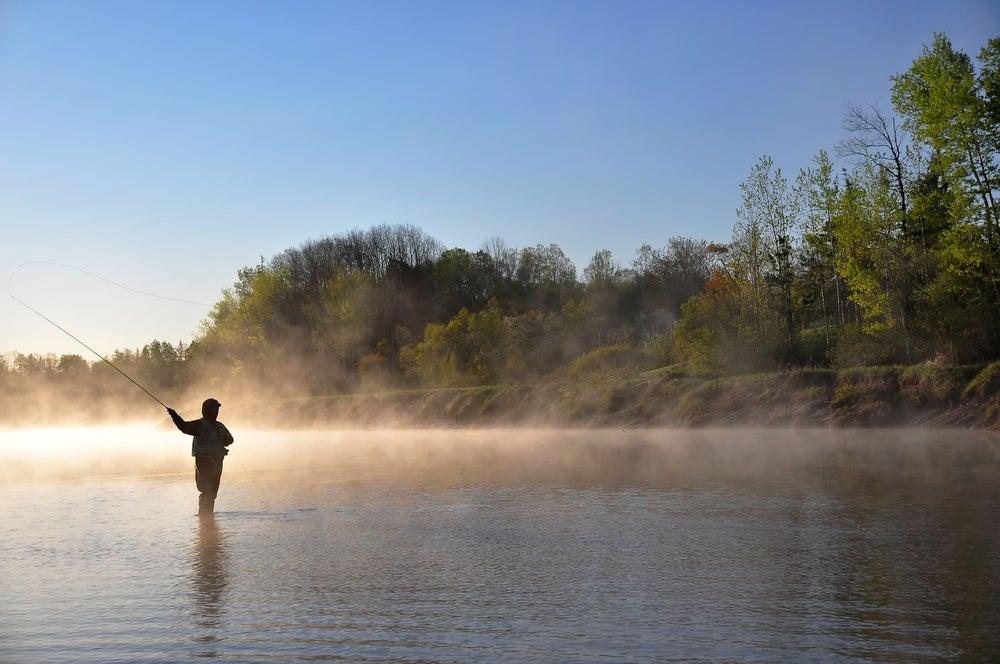 Man fishing at Fish Lake in Utah