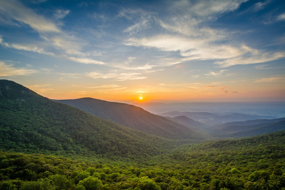 a sweeping views of The Shenandoah Valley at sunset