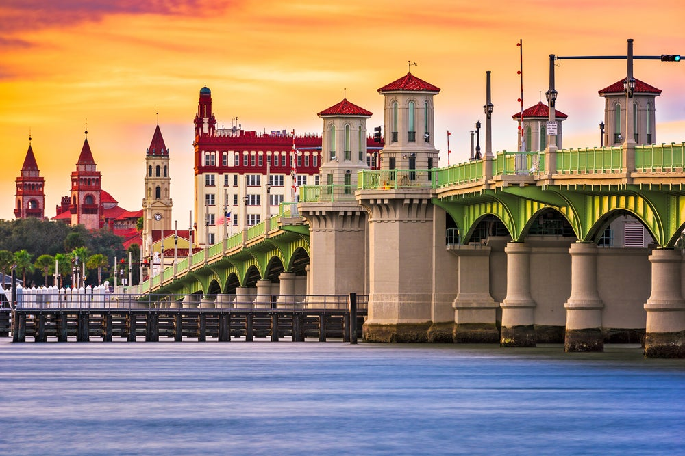 waterfront skyline view of St. Augustine, Florida featuring the Bridge of Lions