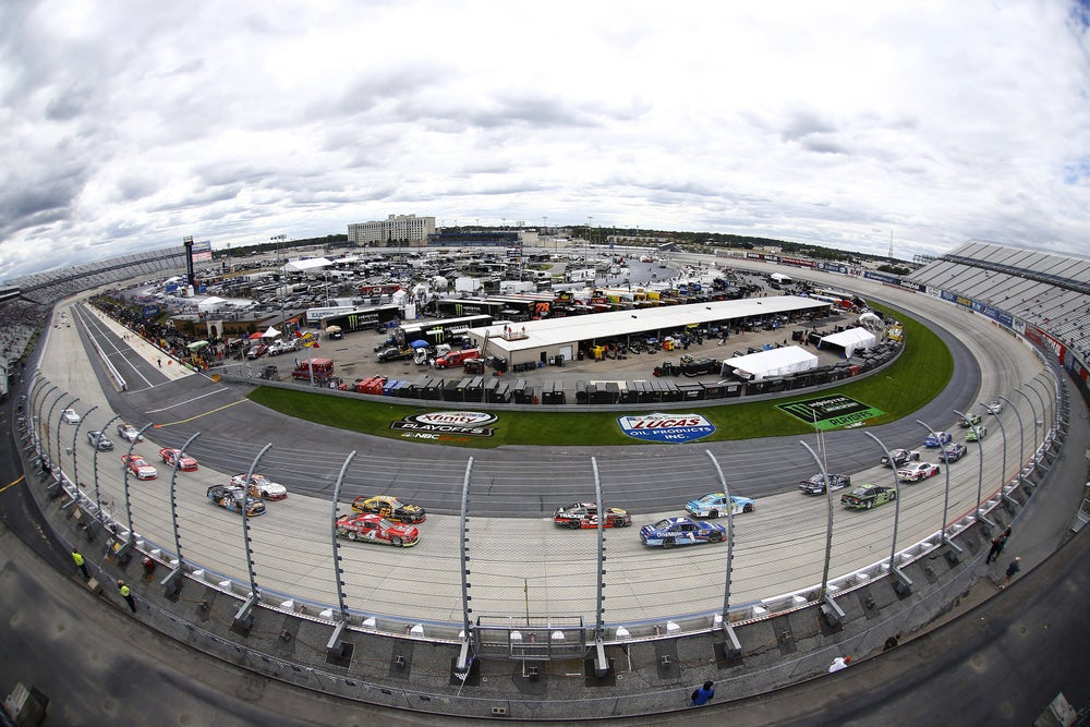 aerial, fish-eye view of dover race track on a cloudy day