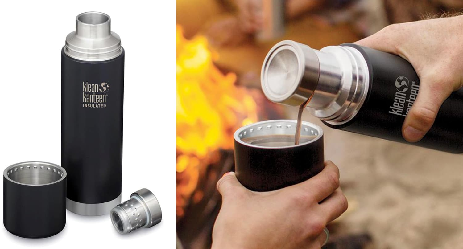 a split image of a klean kanteen TKPro Thermos on the let and the same thermos pouring coffee on the right