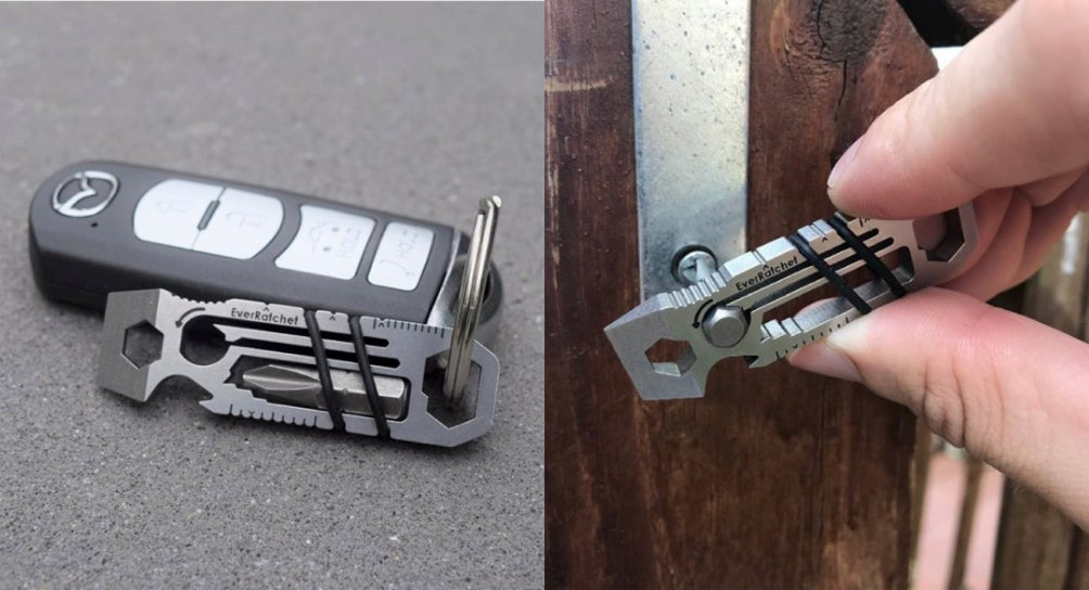 a split image of an Ever Ratchet multi tool on a keychain and an Ever Ratchet multi tool twisting a screw on a door