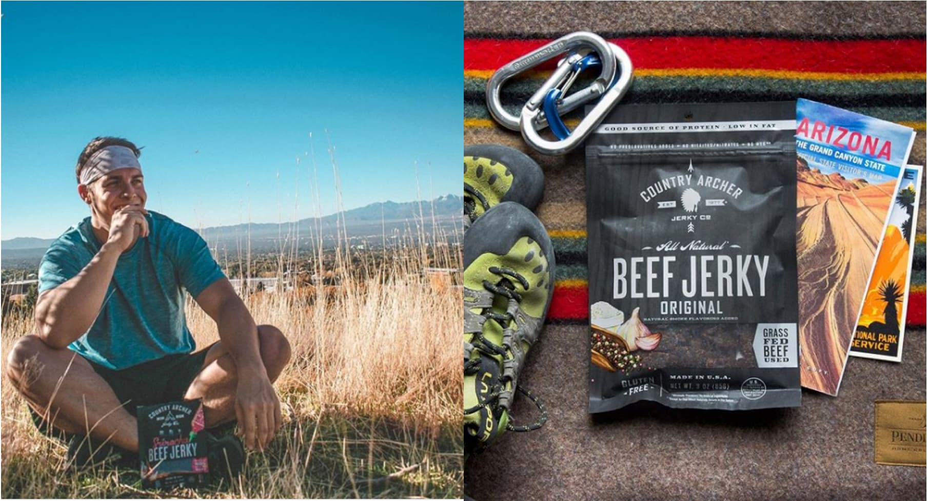 (left) a man sitting on the ground eating a healthy jerky bar (right) a pack of country archer beef jerky sits amongst hiking and climbing gear