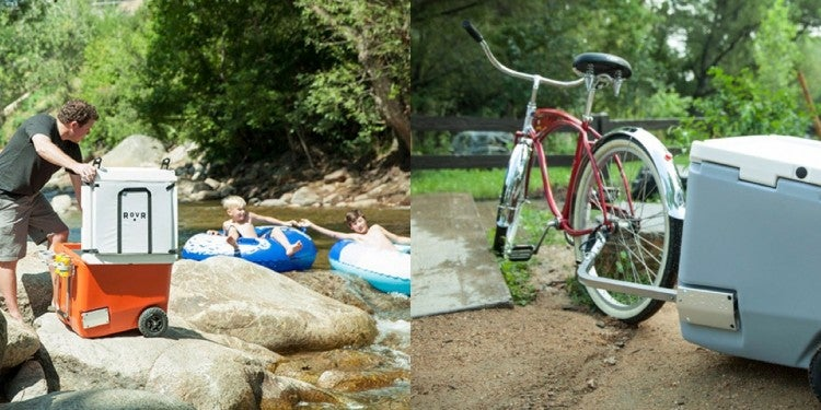 (left) family on the bank of a river beside an open RovR rolling cooler (right) RovR cooler towed from a bike by the back spokes