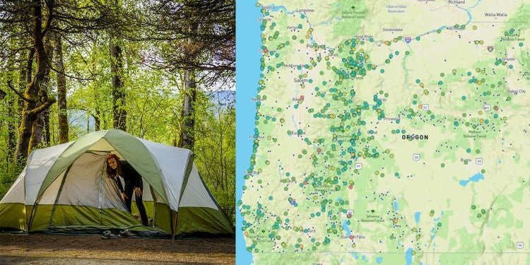 (left) green tent set up in large wooded campsite (right) campgrounds in oregon mapped on the dyrt