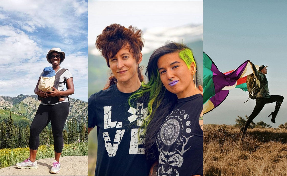 three paneled image displaying diverse group of women in the outdoors