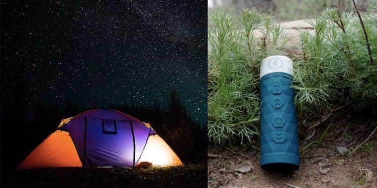 (left) tent illuminated from the inside against starry night sky (right) blue flashlight speaker leaning against brush outdoors