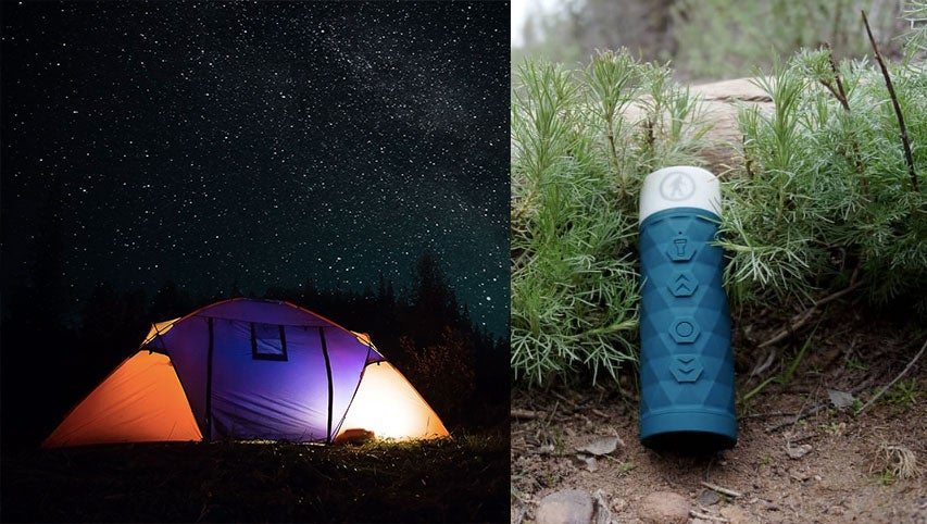 (left) tent illuminated from the inside against starry night sky (right) blue flashlight speaker leaning against brush outdoors