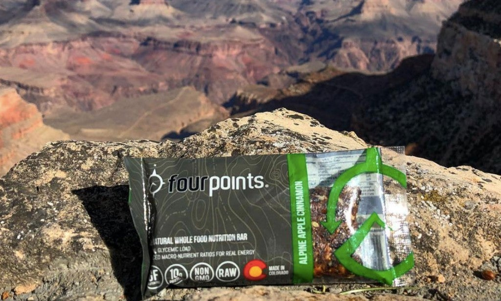 photo of fourpoints low gi energy bar resting on rocky desert overlook