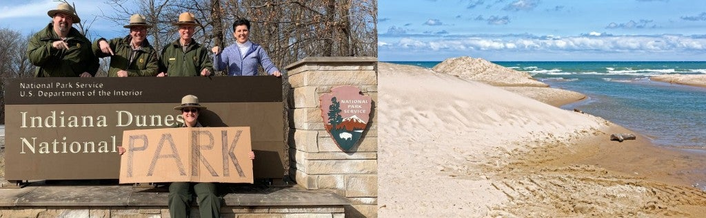 (left) park rangers in front of a sign for indiana dunes holding up a homemade sign that says PARK (right) image of a sandy shoreline at lake michigan