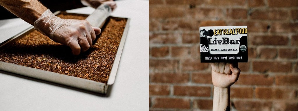 (left) person out of frame rolling out granola bars with a rolling pin (right) pack of livbars rest on top of extended fist in front of brick building