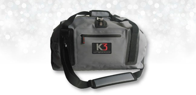 k3's gray waterproof duffel bag
