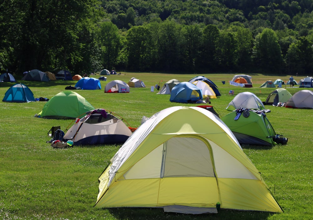 a cluster of dispersed tents on a green field against a forest.