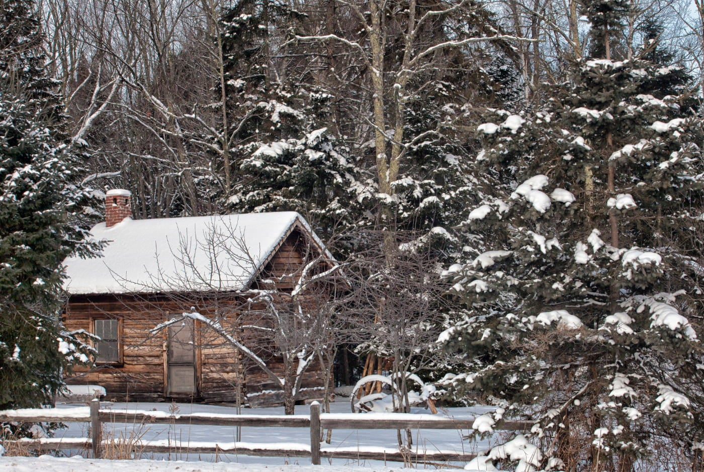 A snow covered log cabin with a brick chimney is nestled behind a wooden fence in a cluster of evergreens and deciduos trees.