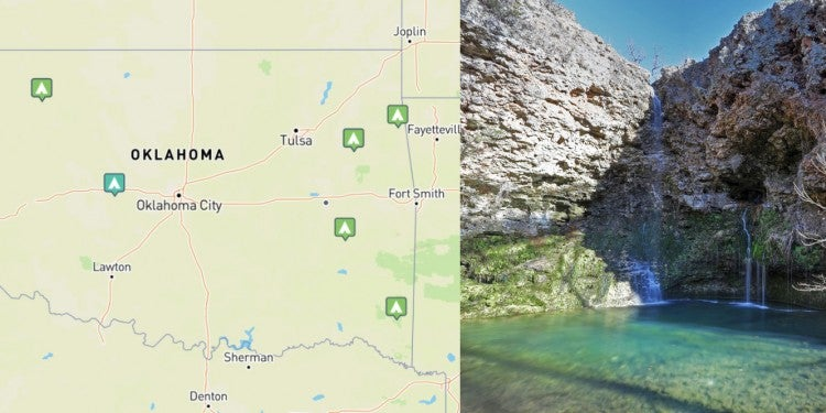 (right) state parks in oklahoma mapped on the dyrt (left) Blue waterfall cascading off a sandstone cliff at Natural Falls, OK.